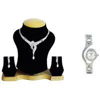The Pari Silver Plated Silver Combo Of Necklace SetWatch For Women