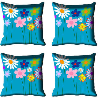 meSleep Floral Digital Printed Cushion Cover (16x16)