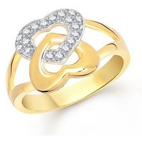 VK Jewels Attach Heart Gold and Rhodium Plated Ring
