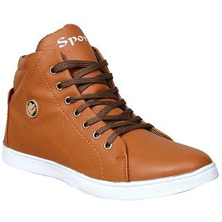 Sukun Mens Tan Lace-Up Casual Shoes