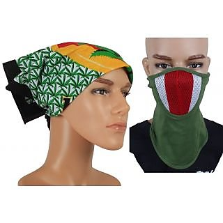 Jstarmart Headwrap With Green Face Mask JSMFHHR0048