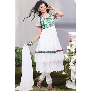 Off-white Net Embroidered Party And Festival Anarkali Kameez