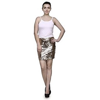 Girls Sequined Polyester Skirts Golden