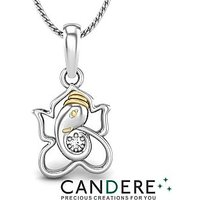 Candere Diamond Pendant In 18K White Gold (Design 18)
