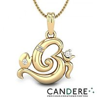 Candere Om Ganesh Pendant in 18K Yellow Gold & .01 Ct Diamond - Design 48