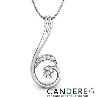 Candere Diamond Pendant In 18K White Gold (Design 32)