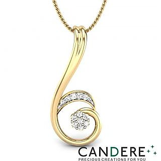 Candere Diamond Pendant In 18K Yellow Gold (Design 32)