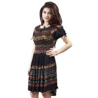 Klick2Style Black Printed High low Dress For Women
