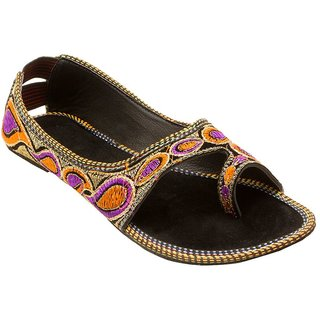 Forever Womens Multicolor Embroidered Ethnic Sandals