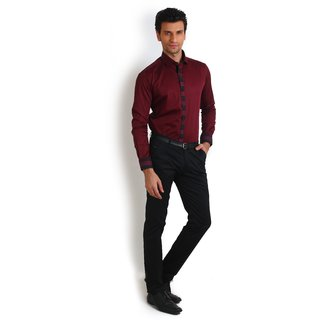 Teemper Maroon Coloured Contrast Collar Detail Shirt
