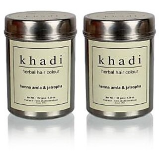Khadi Natural Herbal Henna, Amla  Jatropha - 150g (Set of 2)