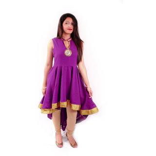 Natty India Georgette Front Key Hole Short & Long Pattern Kurti