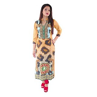 Natty India Digital Print Crepe Band Neck Kurti Having Buttons On Centre Front Part