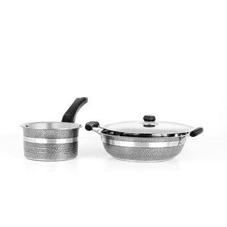 3Pc Mahavir Induction Metallic Black Induction Base Cookware Set
