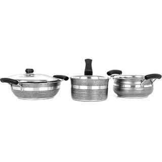 4Pc Mahavir Metalic Balck Induction Lpg Compatible Cookware Set