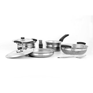 7Pc Mahavir Metalic Balck Induction Lpg Compatible Cookware Set