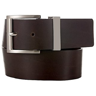 Dark Brown Leather Belt of Smooth Leather and Matte Finish with Pin Buckle and Metal Loop.
