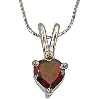 Surat Diamond Diamond & Heart Shape Garnet in 925 Silver Pendant with 18 Chain for Your Love