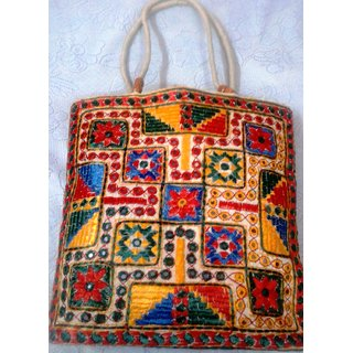 Shoulder Bag with Silk Thread hand embroidery on one side