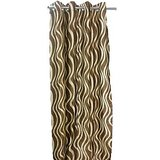 New Abstract Waves Brown Door (7X4 Ft) Curtain With Metal Eyelets