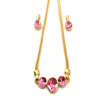 Estelle Alloy & Crystal Golden Traditional Necklace (ESNK8045-P)