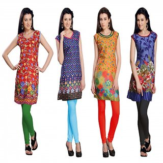 trendbend combo of 4 kurti leggings