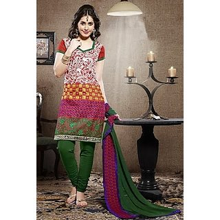 Gaurangi Red Cotton Embroidered Salwar Suit Dress Material