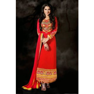 Red Colored Georgette Stright Salwar Suit