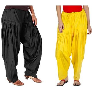 YAARI Cotton Patiala Combo BLACK&YELLOW(Pack of 2)