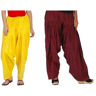 YAARI Cotton Patiala Combo YELLOW&DARKMAROON(Pack of 2)