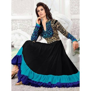 Black and Blue Dress Material Salwarsuits