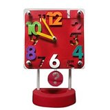 3D Numbers Pendulum Table Clock - Square Shape - (RED)