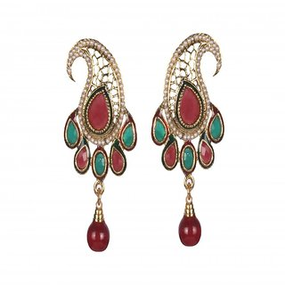 Pasley Shaped Ruby Embedded Mesmerising Pearl Earrings