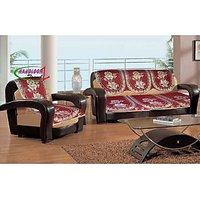 Handloom Trendz Set Of 10 Premium Lovely Rosebush Maroon Sofa Slip Covers (SC013)