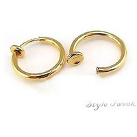 Gold Plated Clip-On Small Hoop Earrings for Non Pierced Ears