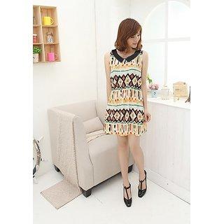 Fashion Turndown Collar Geometric Pattern Sleeveless Dress Black