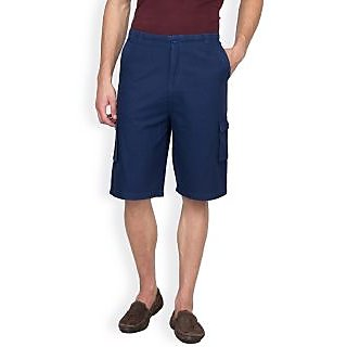Hypernation Dark Blue Color Casual Three Fourth For Men