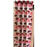 New OLIVE TREE Red Window Curtain (6 X 4 Ft.) With Metal Eyelets
