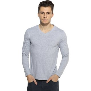 V-Neck Full Sleeve Grey Melange T-shirt
