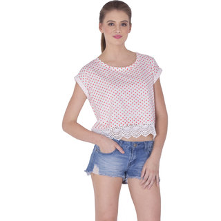 Sera Ladies Lace Crop Tee Off white