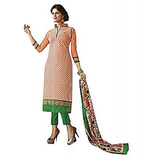 Sinina Red Color Designer Embroidered CambricCotton Unstitched Dress Material
