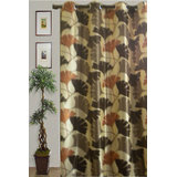 JBG Home Store Beautiful Floral Design Curtain(9 Ft) -Brown