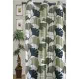 JBG Home Store Beautiful Floral Design Curtain(9 Ft) -Green