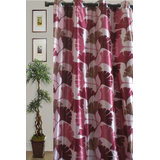 JBG Home Store Beautiful Floral Design Curtain(7 Ft) -Pink