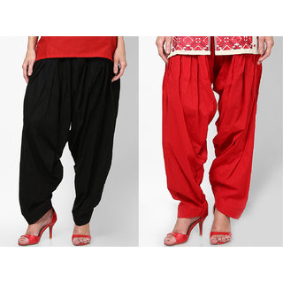 Black Red Stylish Semi Patiala Salwar