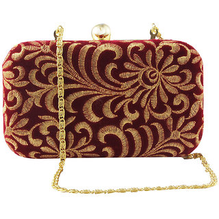 Red & Gold Zardosi Clutch