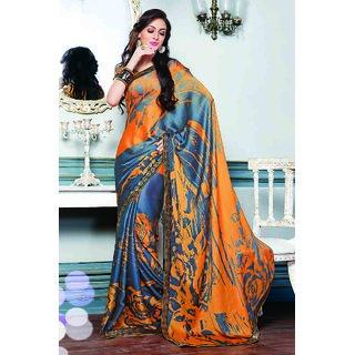 Fascinating Orange Printed Satin Chiffon Sare