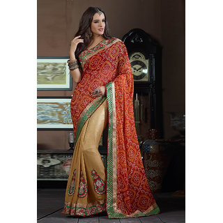 Modish Red Colored Georgette Eye Catching Saree