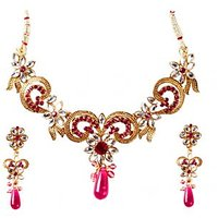 Kriaa Gold Plated Kundan Stone Necklace Set in Pink - 2200404
