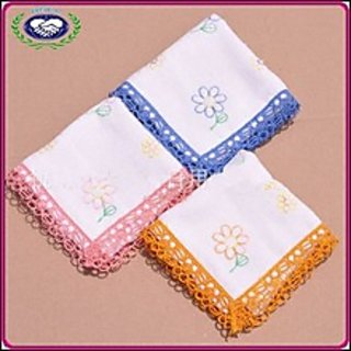 Beautiful Flower Design Female Handkerchiefs Pack Of 6